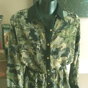 Army Print Sheer Blouse